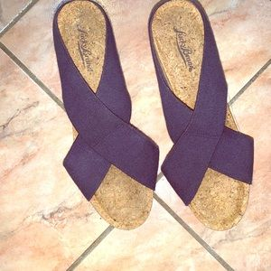 Lucky Brand navy cork wedge sandals